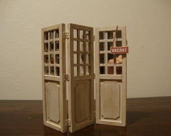 dollhouse miniature  wooden screen, with mirrors. decorated white shabby chic