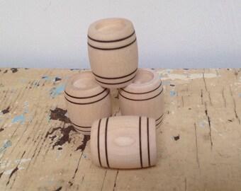 Dollhouse miniature wooden barrels, set of 4
