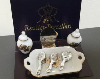 Vintage Dollhouse miniature vanity set made in Germany by Reutter porcelain