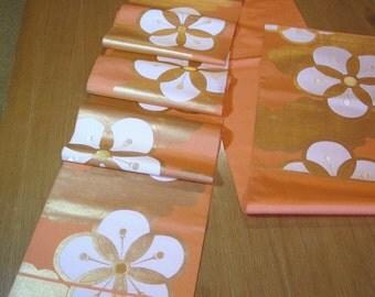 Vintage High End Silk Japanese Fukuro Obi Kimono Sash - Lt. Melon Orange w/ Gold / White Blossoms and Clouds.