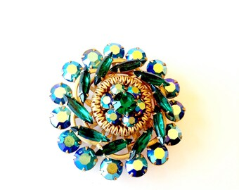Emerald Green Rhinestone AB Brooch Sparkling Rainbow Vintage Retro Fashion Jewelry