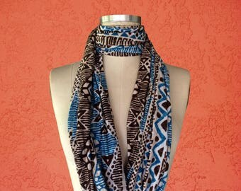 Tribal print scarf / knit scarf / Infinity Scarf / African print