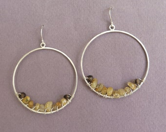 Dangle Hoop Earrings with Yellow Rutile Quartz and Smoky Quartz - Sterling Silver
