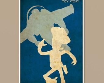 Pixar Toy Story Vintage Minimalist Movie Poster Print