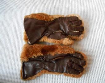 Winter Gloves Leather Fur Motorbike Bikers Gloves  Vintage Retro 1950s Thick