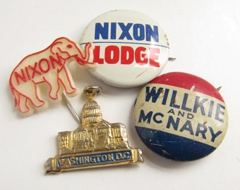 Vintage Political Pins Republican Elephant NIXON Lodge Willkie McNary President