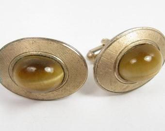 Vintage DANTE 1970s Tiger's Eye Stone Oval Matte Gold Men's Cufflinks Vtg