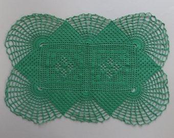 Vintage Crochet Doily Green Doilies Rectangle Doily Green Vintage Doilies Hand Crocheted Doily Cotton Doilies Lace Doilies Vintage Linens