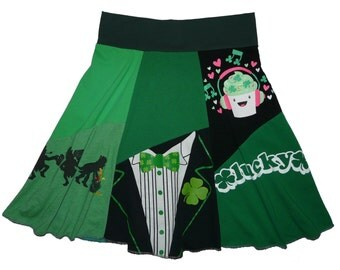 St. Patrick's Day Size XL 1X 14 16 Hippie Skirt Women's upcycled clothing from Twinkle