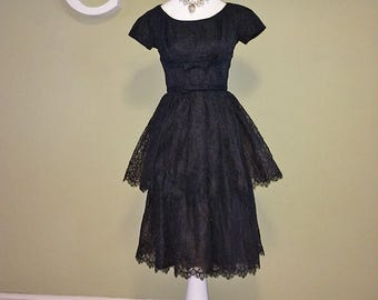 Vintage 50s Rockabilly Dress 1950s Black Lace Prom Dress Sexy Bombshell Pin Up Pinup Swing Dance Mad Men Party by Joan Leslie Size Small