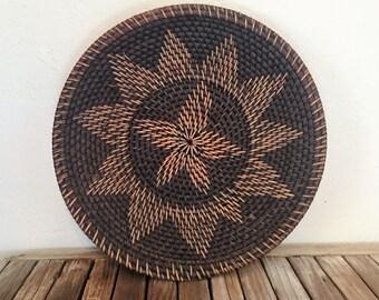 Vintage Woven Basket Native American Basket Geometric Sun Pattern