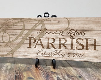 Wooden Family Established Sign, Personalized Wood Family Name Sign, Last Name Sign, Personalized Wedding Anniversary Gift