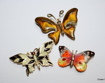 Butterfly Pins - Brooches - Set of Three - Jewelry - Metal - Vintage