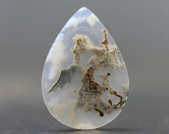 Moss Agate Teardrop Flatback Crystal Polished Cabochon Gemstone Bracelet Necklace Loose Jewelry Ring Pendant Designs (CA8622)