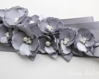 Gray Wedding Sash/ Bridal Ribbon Sash/ Bridesmaids Sash/ Handmade Accessory