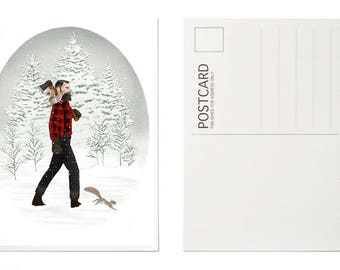 Illustrated Postcard, Art Postcard, Snow Illustration, Animal Christmas Card, Hipster Postcard, Squirrel Illustration