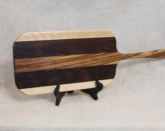 Maple, Walnut and Zebra Wood Handled Cheese / Bread Board Striped with Hardwoods