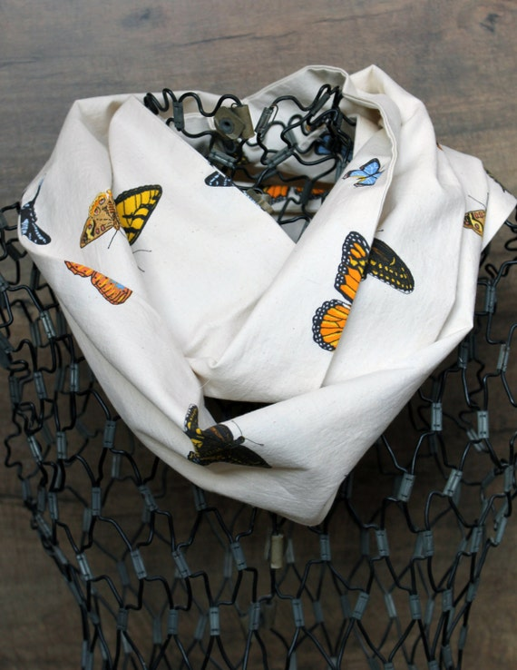 Upcycled Butterfly Women's Infinity Scarf