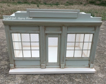 1:12 Shabby Chic Little Green Dollhouse Miniature Roombox French Shop Shoppe