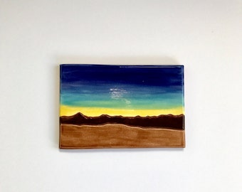 Ceramic landscape painting on tile mountains sunset mosaic accent decoartive add to a mural! West texas