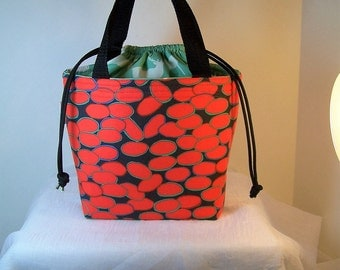 "Insulated Lunch Bag, 4""by7"" Drawstring Lunch Box, Dark Orange Cosmetic Sack, Lunchbag"