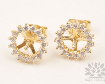E308-G// Gold Plated Cubic Circle Pin Center Post Earring, 2pcs