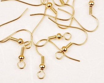 30% SALE// E002-G// Gold Plated Spring Ball French Earwire, 20pcs