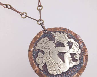 Mixed Metals Copper Mexican Medallion Pendant Necklace Kokopelli Flute Player Conch Shell Flute Signed Cobre