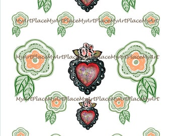 Collage Sheets Flowers, Mexican Flowers, Craft Supplies Flowers, Folk Art Flowers, Clip Art Flowers, Craft Flowers, Digital Art Download