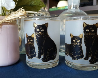 Vintage PAIR of Frosted Black Cat & Gold Rimmed Tumblers