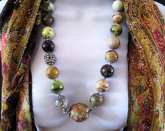 African Natural Turquoise Beaded Necklace With Painted Indonesian Center Bead - Beautiful Colors - Greens - Yellows - Peach - Black - #990