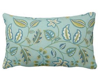 aqua floral outdoor pillows, outdoor lumbar cover, outdoor lumbar pillow, outdoor pillows, floral pillow, lumbar covers, chair pillow cover