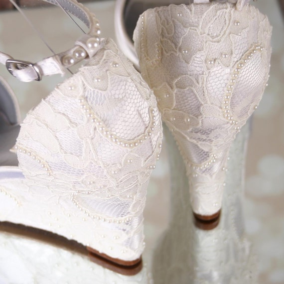 Ivory Wedding Shoes Lace Wedding Wedges Ivory Lace Wedges