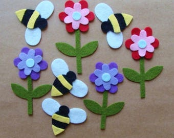 Bumble Bees and Flowers Wool Felt Blend Die Cut Set from Woolhearts