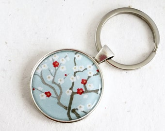 30%OFF Keychain Japanese WASHI chiyogami charm Floral Keyring key holder Ume plum flower pattern with gift envelope