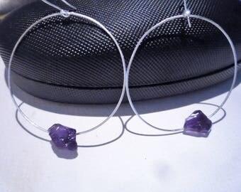 Hoop earrings, Sterling silver hoop earrings,Amethyst gemstone hoop earrings, Large hoop earrings, Rough raw Amethyst gemstone,Chic earrings
