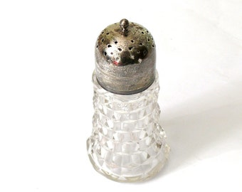 Antique Sugar Shaker - Traditional English - Pressed Glass and Silver Plated Lid - Very Good Condition - Great Gift