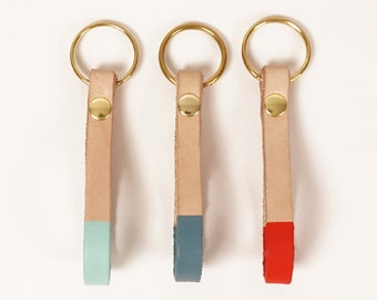 Leather swivel clip keychain with colorblock detail | TANGO CLIP FOB