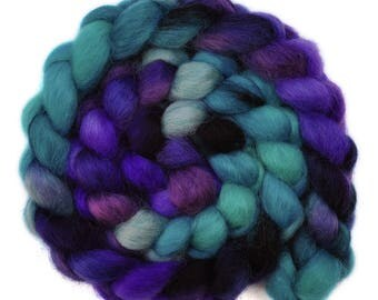 Hand painted spinning fiber - Wensleydale wool combed top roving - 4.1 ounces - Inspiring Leader 3