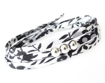 Black & white bracelet for women, gift idea for women who love wearing black, modern contemporary jewelry