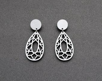Filigree leaf earrings, post earrings, silver earrings, petal earrings, hand painted earrings, Christmas gift for her, laser cut earrings