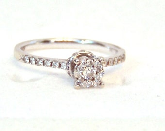 14K White Gold Effy Bouquet Diamond Engagement Ring, Cluster, Vintage