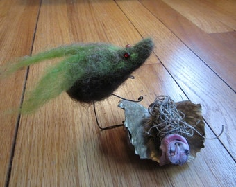 Fairy Garden Miniature Needle felted Momma with Adopted Baby Fairy Art Doll One of a Kind Original