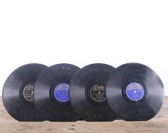 4 Vintage 78 Records / Blue Vinyl Records / Antique Vinyl Records Decorations / Old Records / Decca Records / Retro Music Party Decor