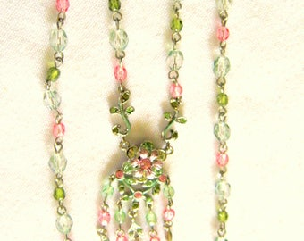Kirk's Folly Look GRAZIANO Swarovski CRYSTAL & Pastel Bead Signed NECKLACE Excellent Condition