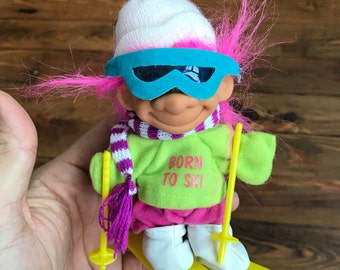 Adorable 90s Skiing Troll Doll - I LOVE To SKI