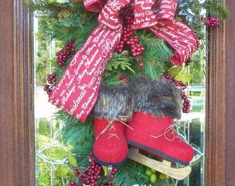 Christmas Wreath Swag with BURGUNDY ICE SKATES and Burgundy Script Bow