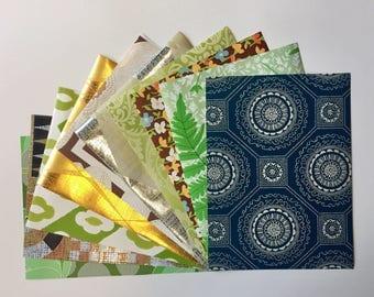 "1960s Vintage wallpaper sample pack-geometric, floral, metallic (10 sheets, 8.5x11.5"")"