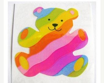 ON SALE Rare Vintage Sandylion Pearl Finish Rainbow Bear Sticker - 80's Opal Pearly MOP Stripe