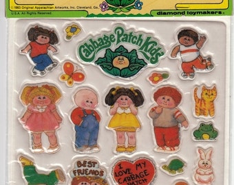 ON SALE Rare Large Vintage Cabbage Patch Doll Puffy Sticker Package - 80's NIP Sheet Collectable Retro Doll Dress Up Toy Cartoon